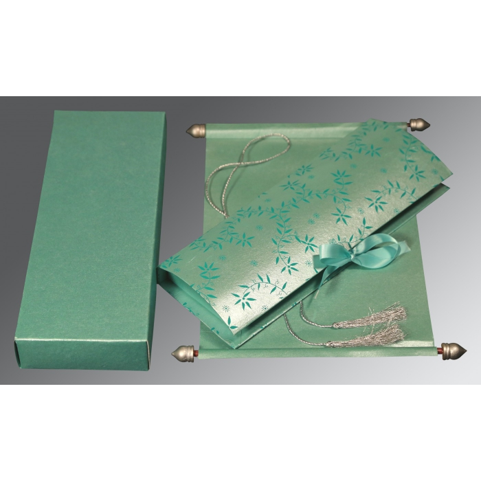 Green Handmade Shimmer Wedding Invitation : ASC-5007L - A2zWeddingCards
