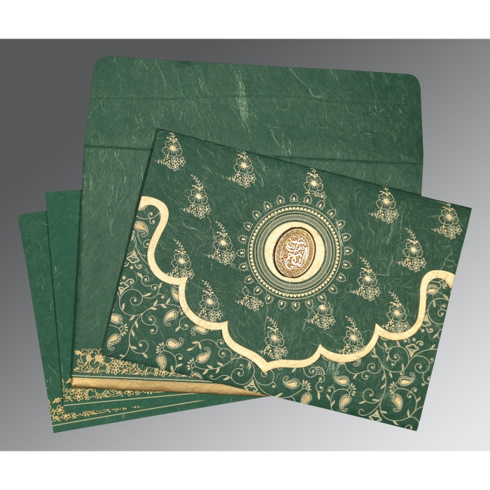 Green Handmade Silk Screen Printed Wedding Invitation : AI-8207L - A2zWeddingCards