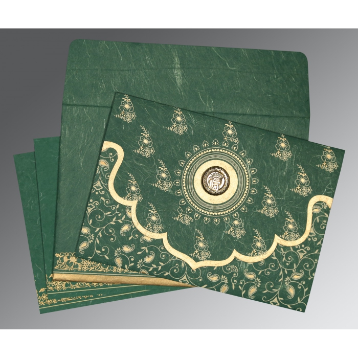 DARK SPRING GREEN HANDMADE SILK SCREEN PRINTED WEDDING INVITATION : ARU-8207L - A2zWeddingCards
