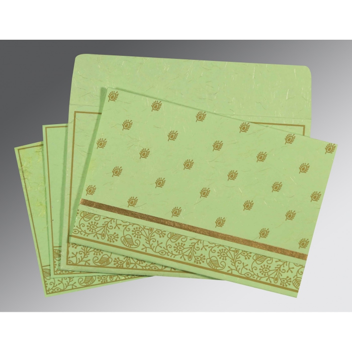 Green Handmade Silk Screen Printed Wedding Card : ARU-8215D - A2zWeddingCards