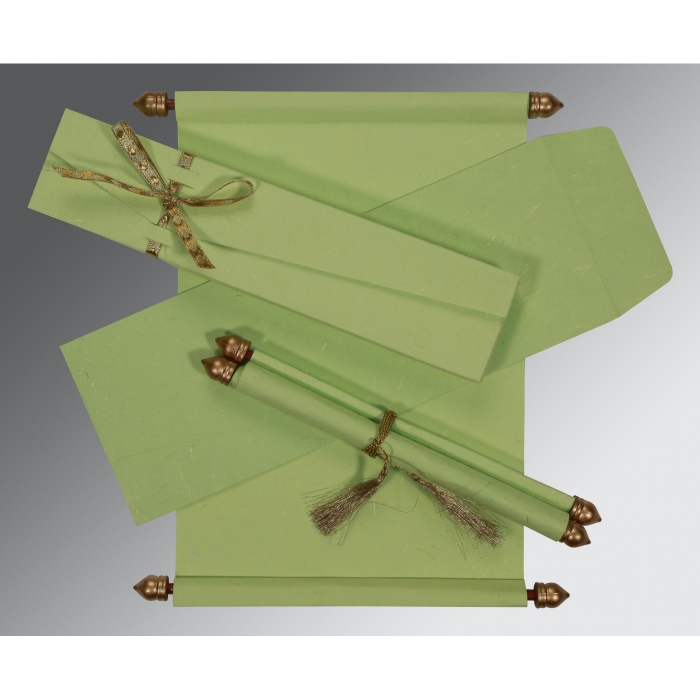 SMOKE GREEN HANDMADE SILK WEDDING CARD : ASC-5001L - A2zWeddingCards