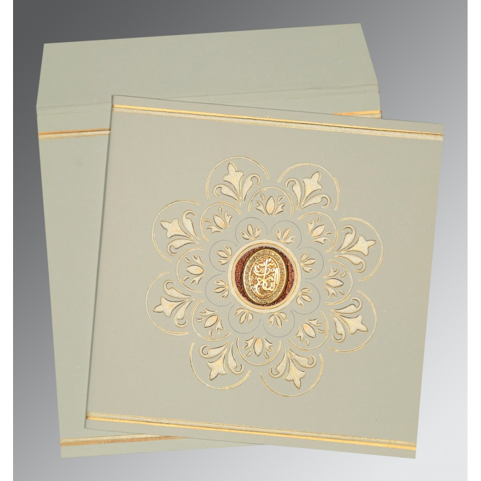 OFF-WHITE MATTE BOX THEMED - EMBOSSED WEDDING CARD : AI-1190 - A2zWeddingCards
