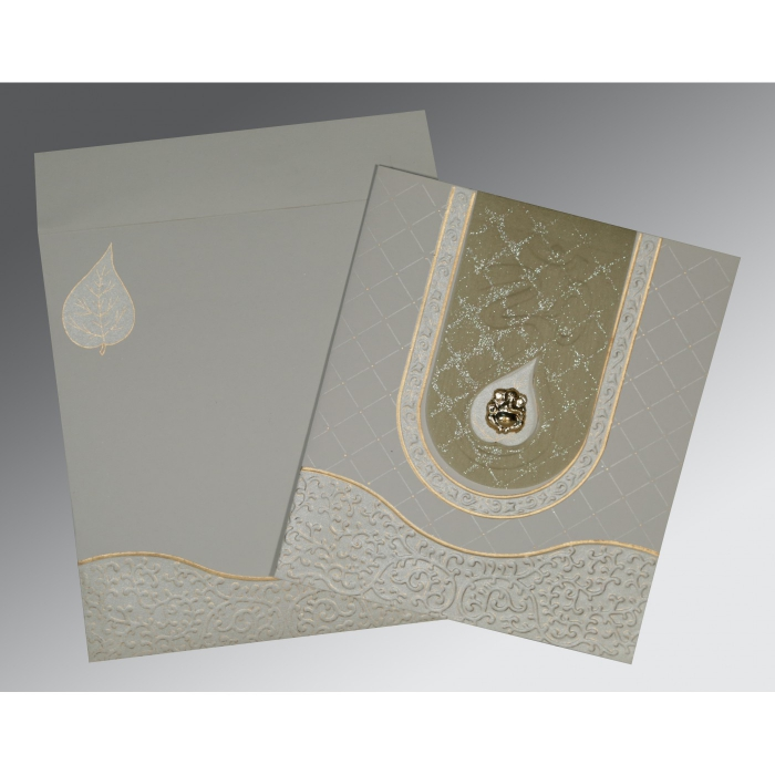 SHELL GREY MATTE EMBOSSED WEDDING INVITATION : AW-2151 - A2zWeddingCards