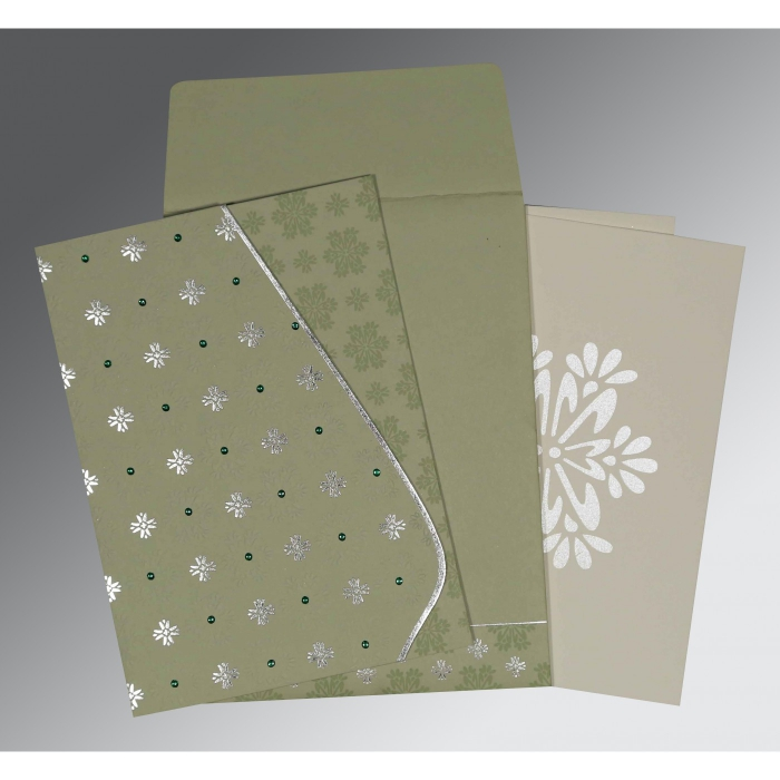 Green Matte Floral Themed - Foil Stamped Wedding Invitation : AI-8237I - A2zWeddingCards