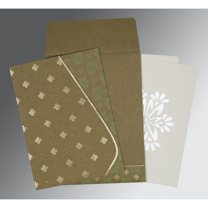 Green Matte Floral Themed - Foil Stamped Wedding Invitation : AS-8237E - A2zWeddingCards