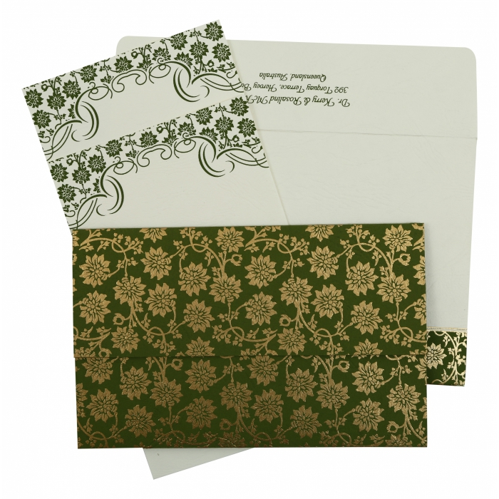GREEN MATTE FLORAL THEMED - SCREEN PRINTED WEDDING INVITATION : ASO-810D - A2zWeddingCards