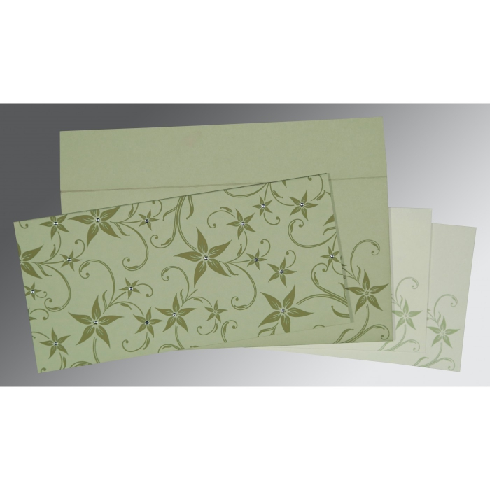 Green Matte Floral Themed - Screen Printed Wedding Invitation : AD-8225E - A2zWeddingCards