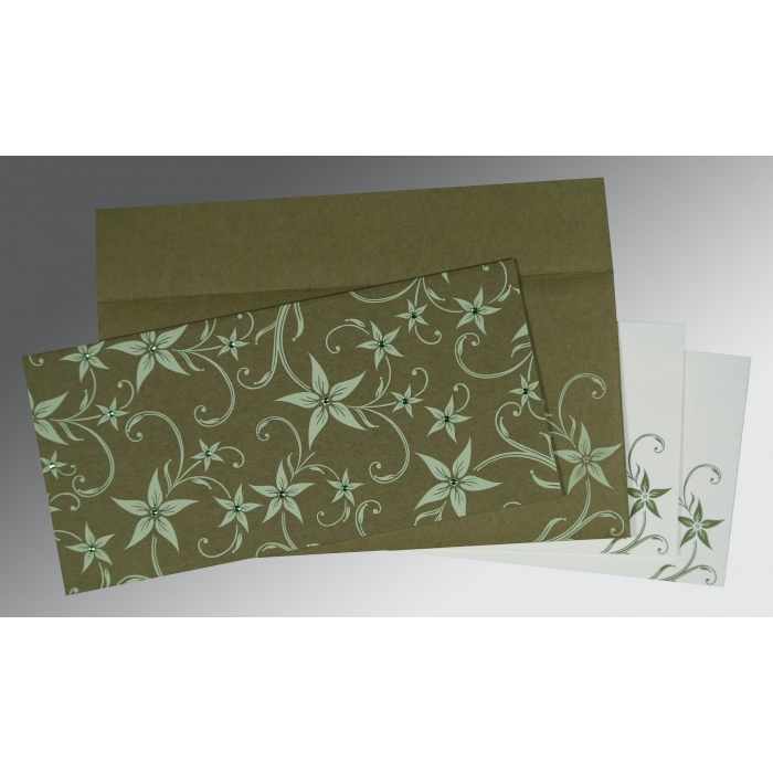 Green Matte Floral Themed - Screen Printed Wedding Invitation : AI-8225F - A2zWeddingCards
