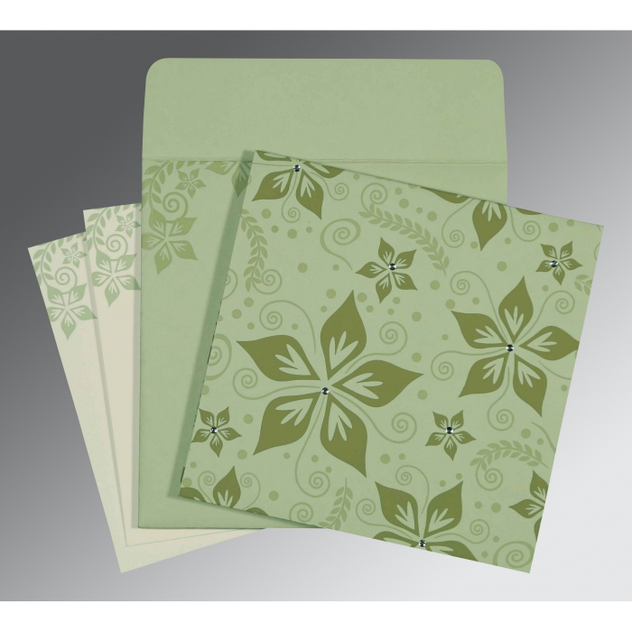 SAGE GREEN MATTE FLORAL THEMED - SCREEN PRINTED WEDDING INVITATION : AI-8240I - A2zWeddingCards