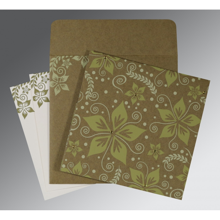OLIVE GREEN MATTE FLORAL THEMED - SCREEN PRINTED WEDDING INVITATION : AIN-8240F - A2zWeddingCards