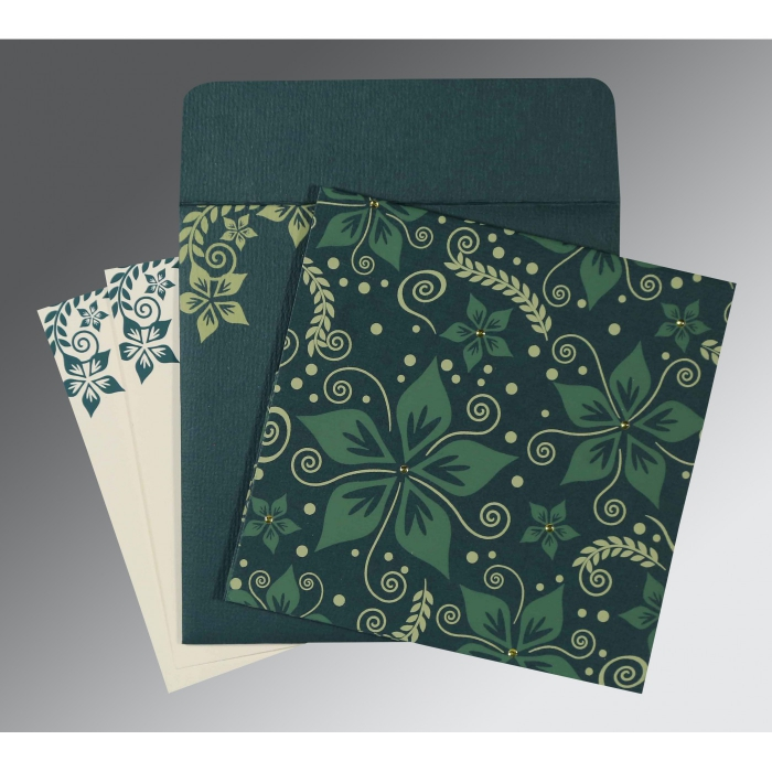 MIDNIGHT GREEN MATTE FLORAL THEMED - SCREEN PRINTED WEDDING INVITATION : ARU-8240N - A2zWeddingCards