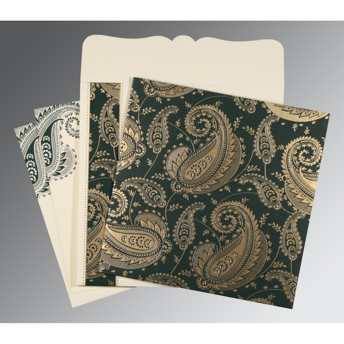 Green Matte Paisley Themed - Screen Printed Wedding Card : AC-8250C - A2zWeddingCards