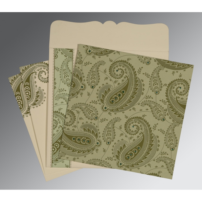 Green Matte Paisley Themed - Screen Printed Wedding Card : ARU-8250G - A2zWeddingCards