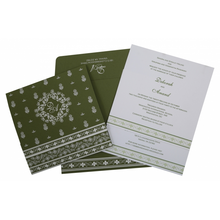 Green Matte Screen Printed Wedding Invitation : AIN-808A - A2zWeddingCards