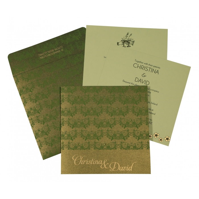 DARK GREEN SHIMMERY BUTTERFLY THEMED - SCREEN PRINTED WEDDING CARD : AIN-8258B - A2zWeddingCards