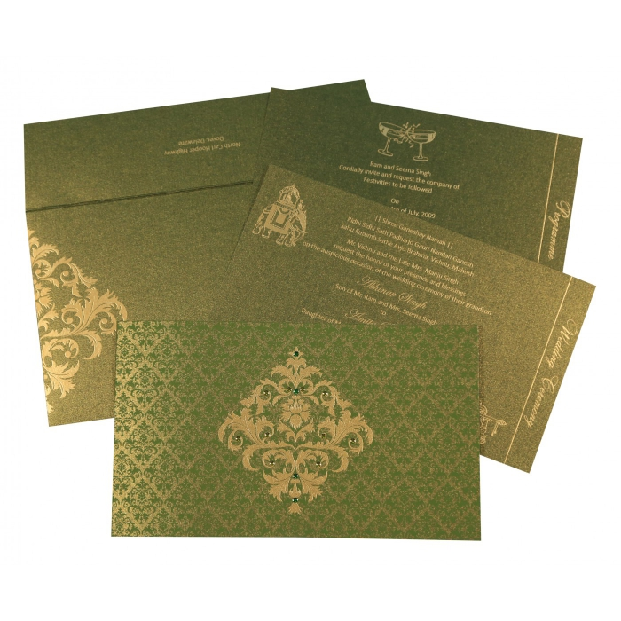Green Shimmery Damask Themed - Screen Printed Wedding Card : AC-8257A - A2zWeddingCards
