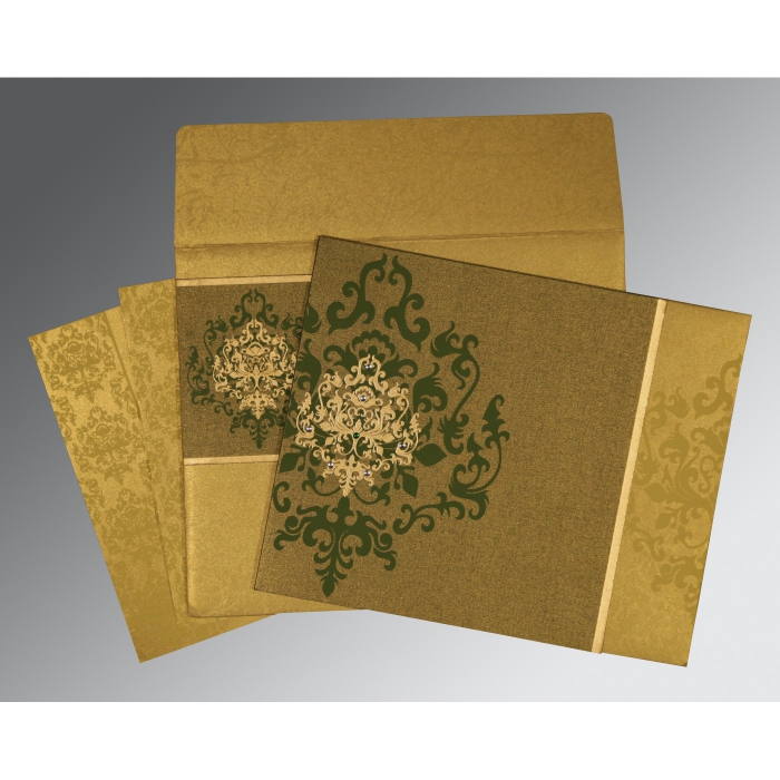 GREEN SHIMMERY DAMASK THEMED - SCREEN PRINTED WEDDING CARD : AIN-8253C - A2zWeddingCards