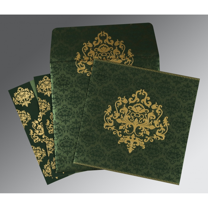 Green Shimmery Damask Themed - Screen Printed Wedding Card : AS-8254D - A2zWeddingCards
