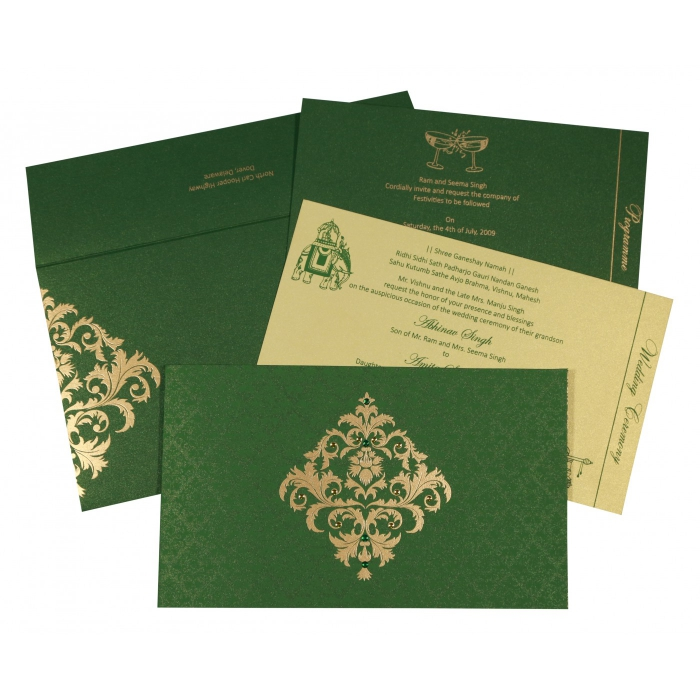 DARK GREEN SHIMMERY DAMASK THEMED - SCREEN PRINTED WEDDING CARD : AS-8257F - A2zWeddingCards