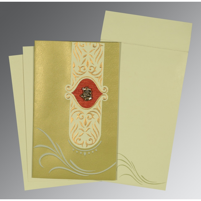Green Shimmery Embossed Wedding Card : AC-1317 - A2zWeddingCards