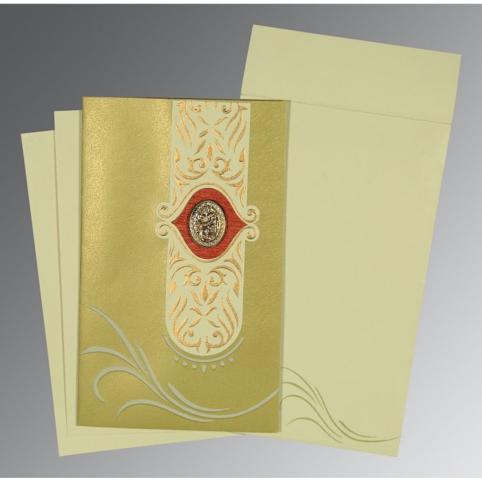 APPLE GREEN MATTE EMBOSSED WEDDING CARD : AI-1317 - A2zWeddingCards