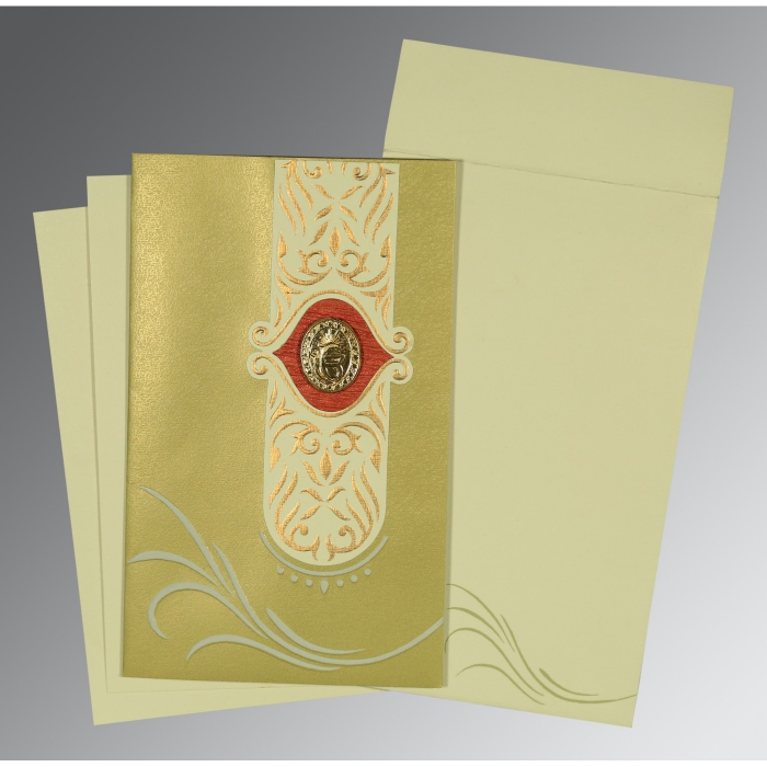Green Shimmery Embossed Wedding Card : AS-1317 - A2zWeddingCards