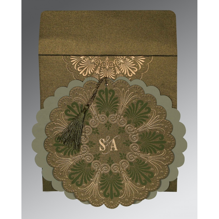 DARK OLIVE GREEN SHIMMERY FLORAL THEMED - EMBOSSED WEDDING CARD : AD-8238K - A2zWeddingCards
