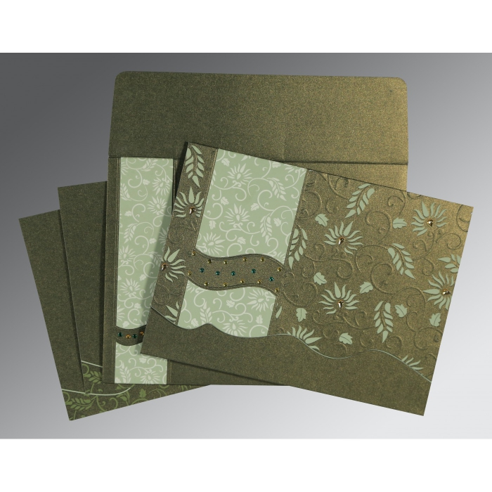 DEEP SAGE SHIMMERY FLORAL THEMED - EMBOSSED WEDDING INVITATION : AIN-8236H - A2zWeddingCards