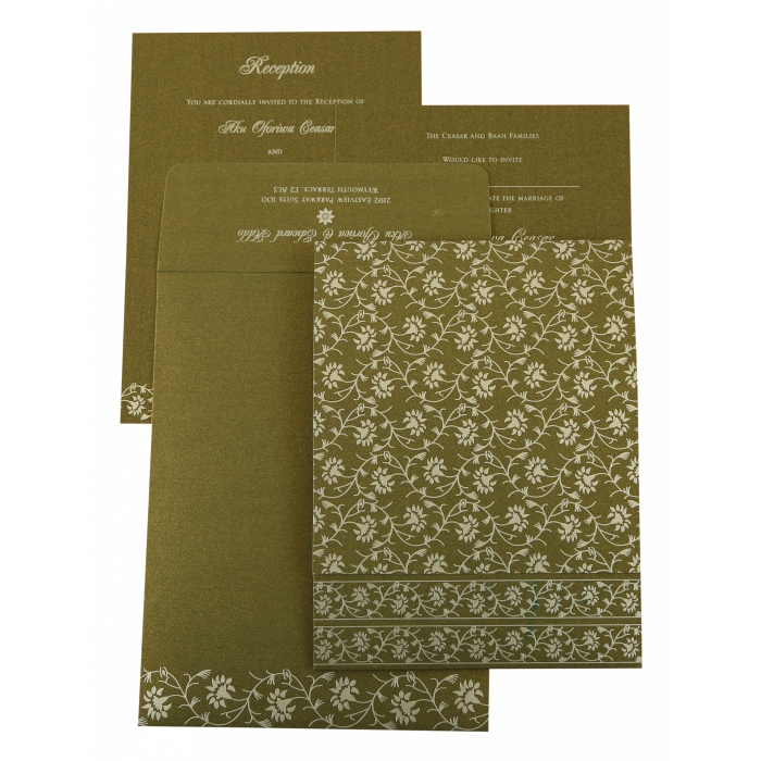 GREEN SHIMMERY FLORAL THEMED - SCREEN PRINTED WEDDING INVITATION : AI-822A - A2zWeddingCards
