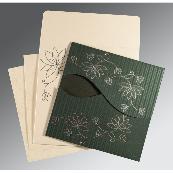 Green Shimmery Floral Themed - Screen Printed Wedding Invitations : AI-8251J - A2zWeddingCards