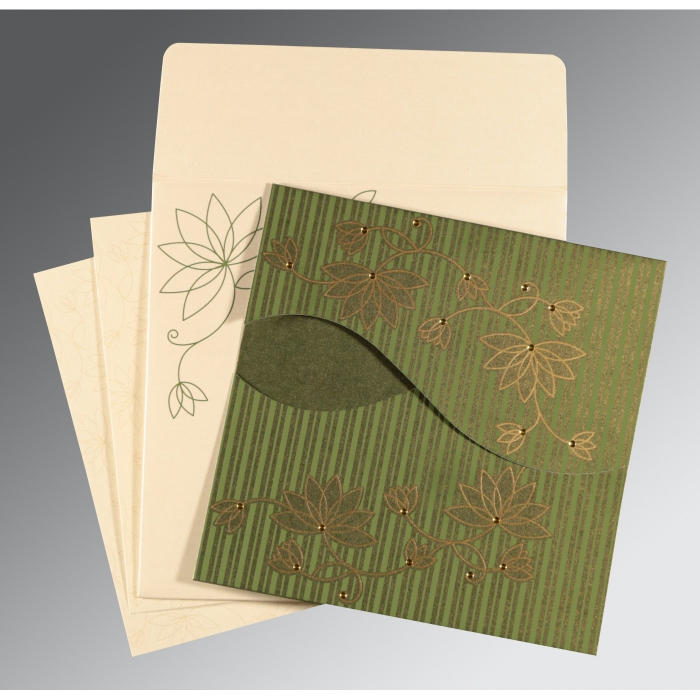 Green Shimmery Floral Themed - Screen Printed Wedding Invitations : AI-8251K - A2zWeddingCards