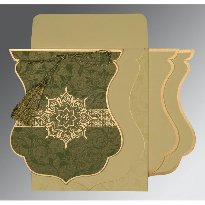OLIVE GREEN SHIMMERY FLORAL THEMED - SCREEN PRINTED WEDDING CARD : AIN-8229P - A2zWeddingCards