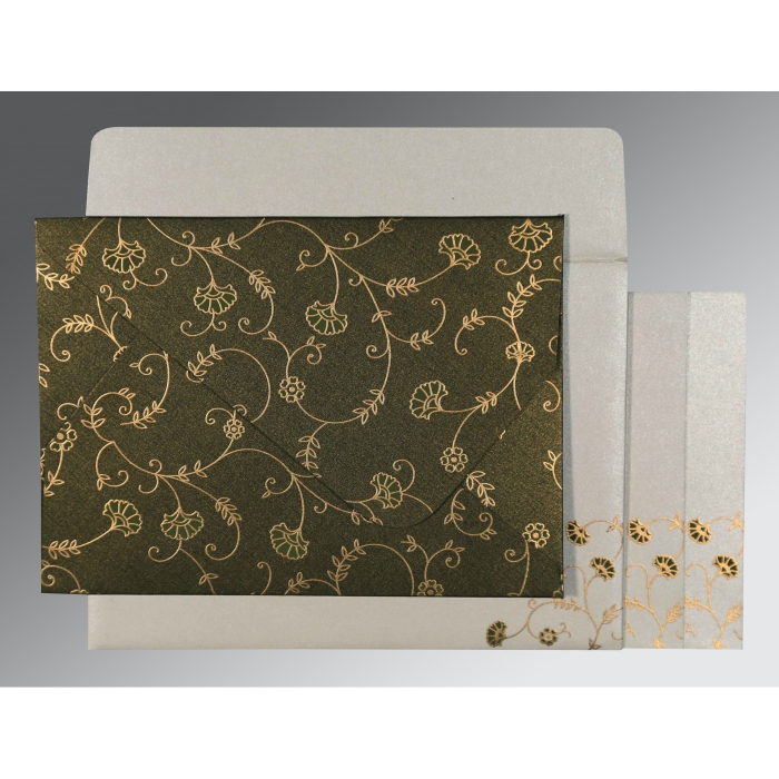 Green Shimmery Floral Themed - Screen Printed Wedding Invitations : AIN-8248D - A2zWeddingCards