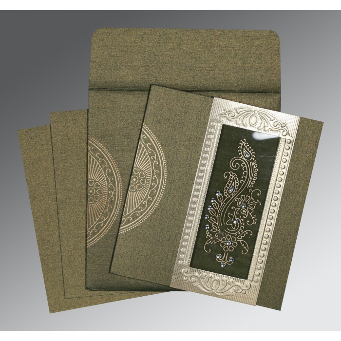 Green Shimmery Paisley Themed - Foil Stamped Wedding Invitation : ARU-8230L - A2zWeddingCards