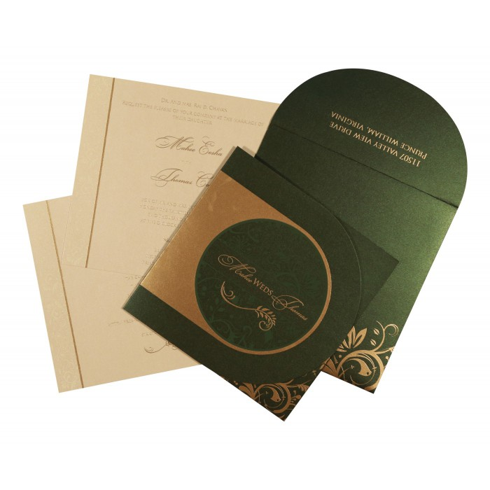 Green Shimmery Paisley Themed - Screen Printed Wedding Card : AC-8264I - A2zWeddingCards