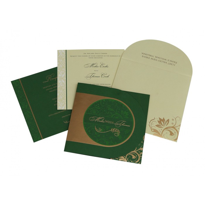 Green Shimmery Paisley Themed - Screen Printed Wedding Card : AD-8264J - A2zWeddingCards