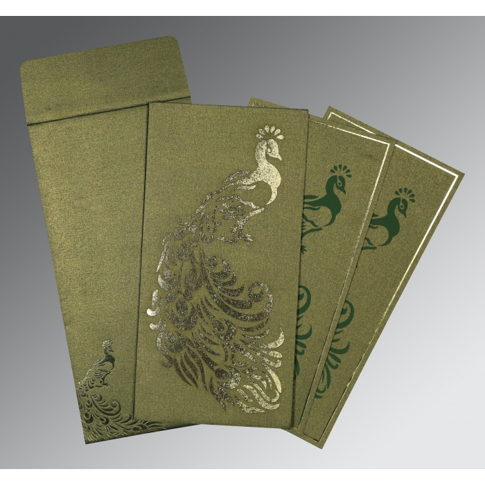 GREEN SHIMMERY PEACOCK THEMED - LASER CUT WEDDING INVITATION : AS-8255D - A2zWeddingCards