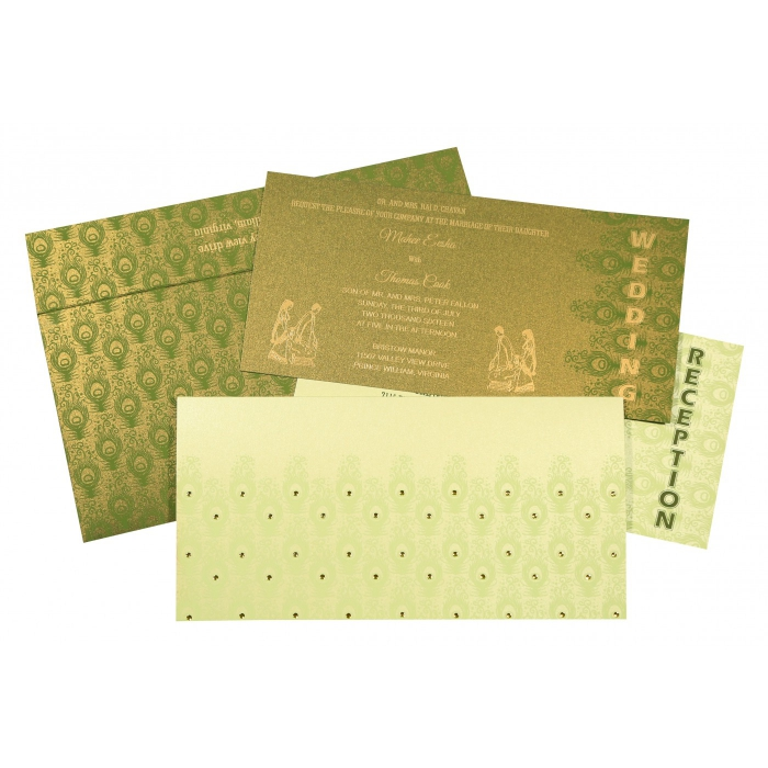 PALE YELLOW SHIMMERY PEACOCK THEMED - SCREEN PRINTED WEDDING INVITATION : ASO-8256F - A2zWeddingCards