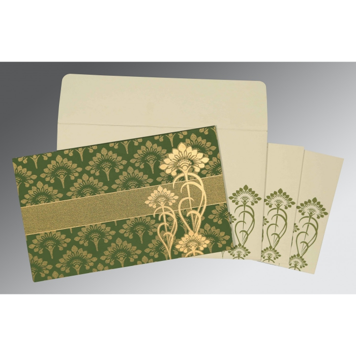 OLIVE GREEN SHIMMERY SCREEN PRINTED WEDDING CARD : AD-8239F - A2zWeddingCards