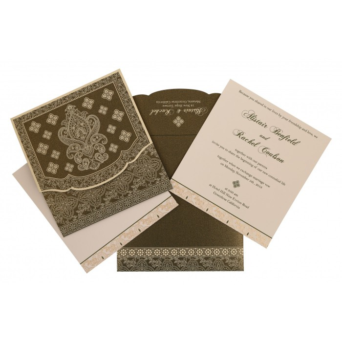 DEEP SAGE SHIMMERY SCREEN PRINTED WEDDING INVITATION : AI-800A - A2zWeddingCards