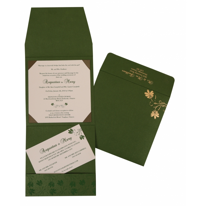 Green Shimmery Screen Printed Wedding Invitation : AI-803B - A2zWeddingCards