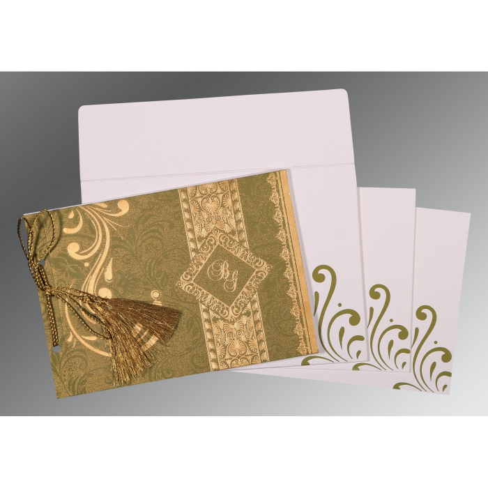 OLIVE GREEN SHIMMERY SCREEN PRINTED WEDDING CARD : AW-8223I - A2zWeddingCards