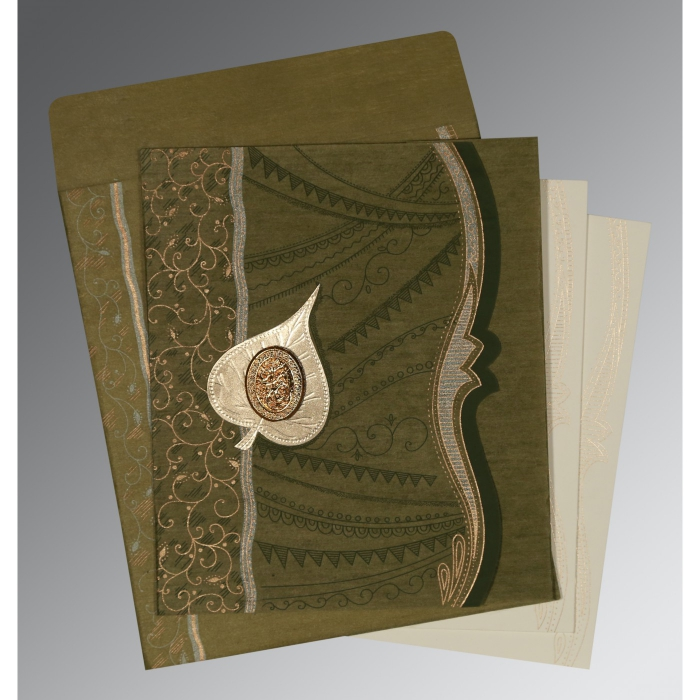 DEEP SAGE SHIMMERY EMBOSSED WEDDING CARD : AI-8210I - A2zWeddingCards