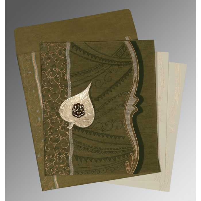 Green Wooly Embossed Wedding Card : AW-8210I - A2zWeddingCards