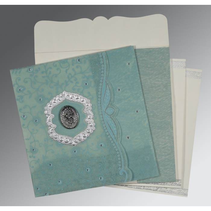 SEA GREEN SHIMMERY FLORAL THEMED - EMBOSSED WEDDING CARD : AI-8209F - A2zWeddingCards