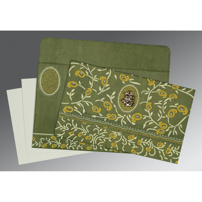 Green Wooly Floral Themed - Glitter Wedding Card : AC-8206D - A2zWeddingCards