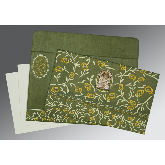 Green Wooly Floral Themed - Glitter Wedding Card : ASO-8206D - A2zWeddingCards