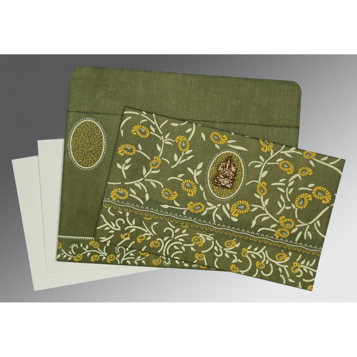 DEEP SAGE WOOLY FLORAL THEMED - GLITTER WEDDING CARD : AW-8206D - A2zWeddingCards