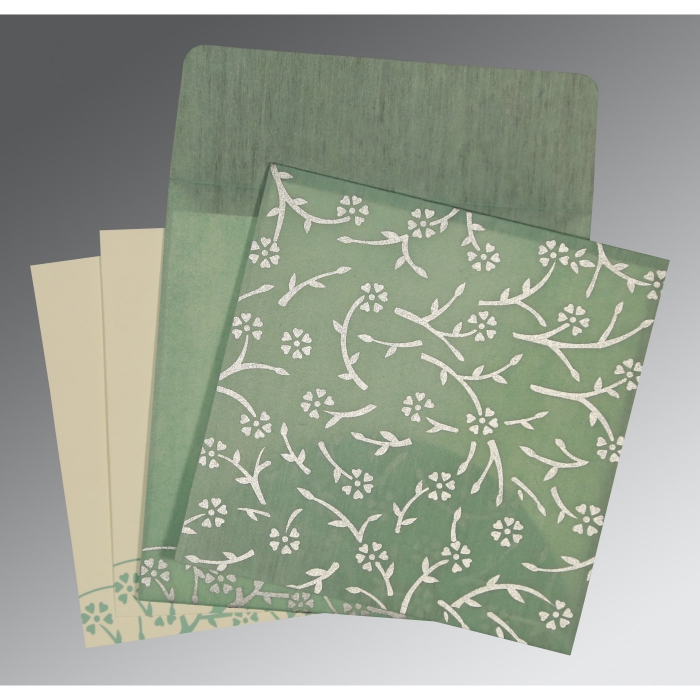 SAGE GREEN WOOLY FLORAL THEMED - SCREEN PRINTED WEDDING INVITATION : AD-8216F - A2zWeddingCards