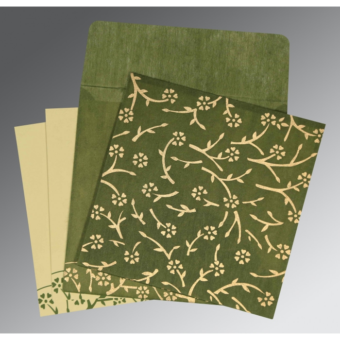 Green Wooly Floral Themed - Screen Printed Wedding Invitations : AG-8216J - A2zWeddingCards